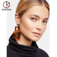 Vintage Acetic Acrylic Brown Earring Simple Square Shape Dangle Earrings 2018 Statement ZA Resin Drop Earring Jewelry For Women(China)