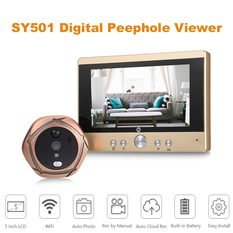 Fimei SY501 5 Inch TFT LCD Screen Digital Peephole Viewer Doorbell Security Camera Night Vision/Motion Detection For IOS Android