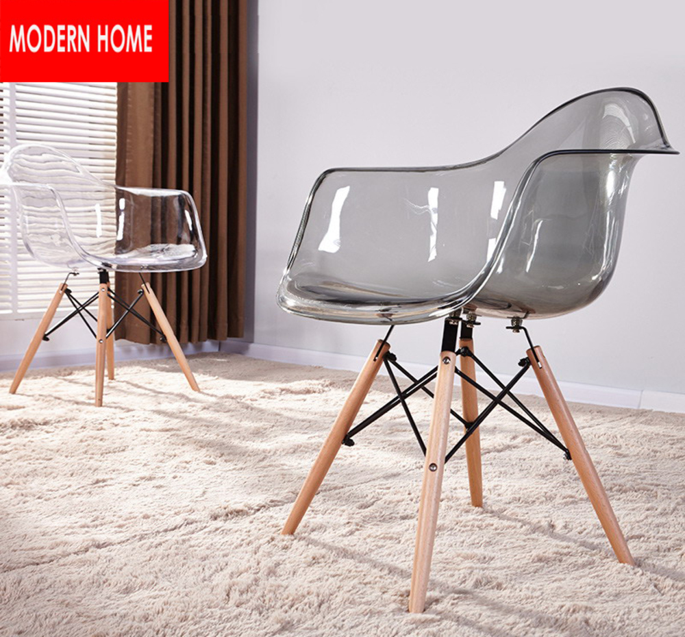 Transparent Clear Acrylic Modern design Dining Armchair / Plastic and Wood Dining Chair/ Modern home fashion loft furniture 2pcs ...
