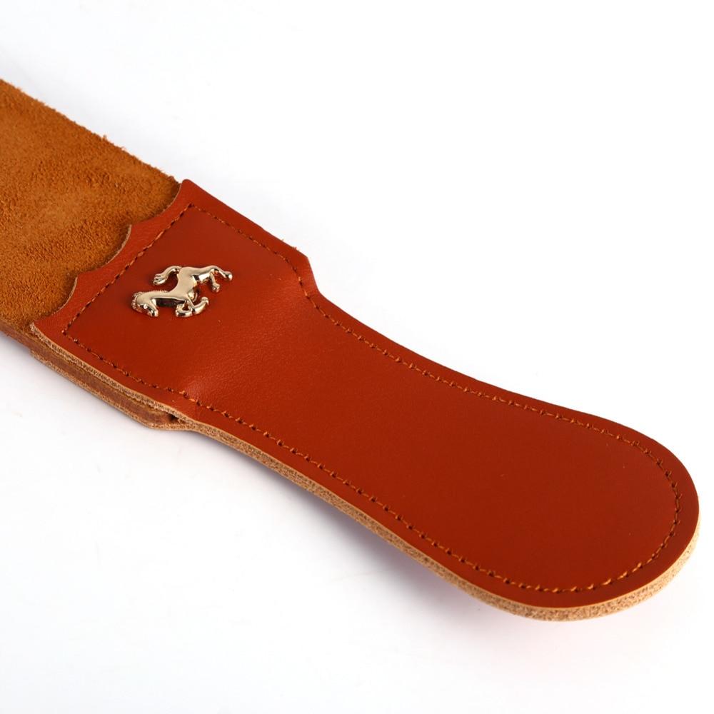 Pro Barber Double-layer Genuine Leather Shaving Strop Straight Razor Sharpener Strap Belt Necessary Shaving Strap Tool 4