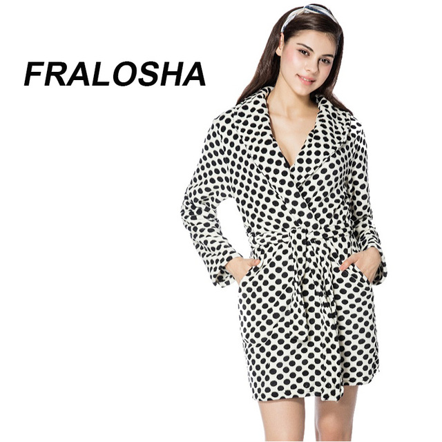 FRALOSHA Bathrobe Women black white Polka Dot Warm Flannel Bathrobe Ladies  Robes Nightwear For Ladies Dressing Gown Sleepwear c85727474