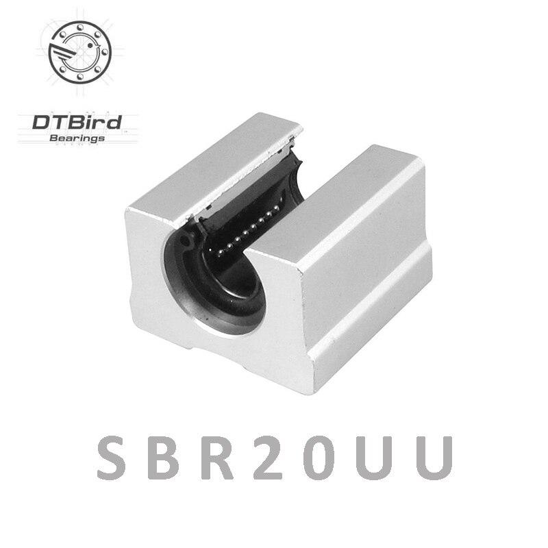 4pcs SBR20UU aluminum block 20mm Linear motion ball bearing slide block match use SBR20 20mm linear guide rail belt driven long travel linear slide linear motion ball slide unit guide