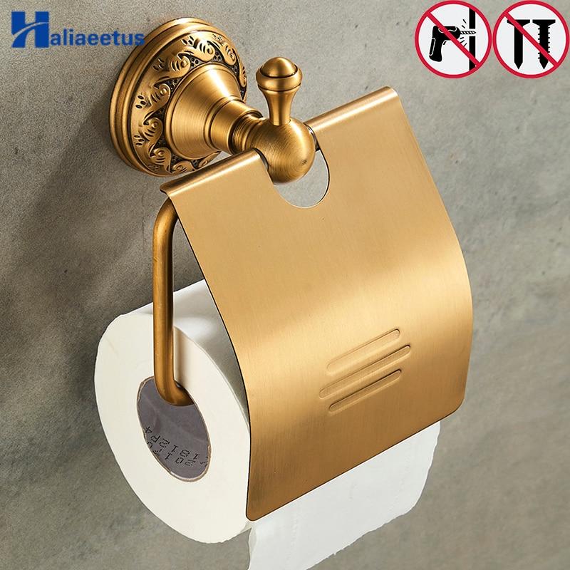 Nail Free Bathroom Toilet Paper Holders Brass Bathroom Wall Mount Roll Tissue Rack Roll Paper Holder