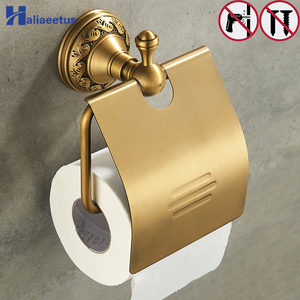 Nail Free Bathroom toilet Paper Holders Brass Bathroom Wall Mount Roll Tissue Rack Roll paper holder(China)