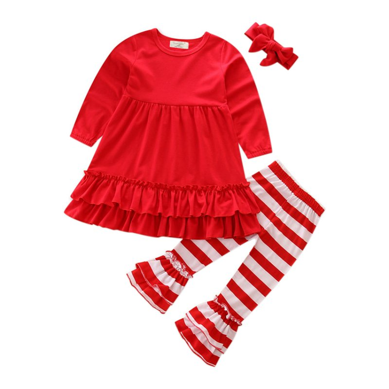 Infant Toddle Baby Girls Lovely Clothes Set Long Sleeve Ruffle Red Dress+Flare Trousers Headband Kids Clothes Party Casual Suit