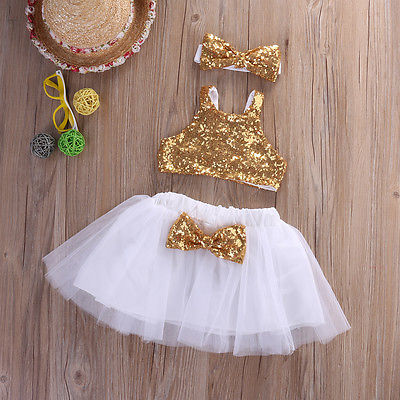 3pcs Toddler Baby Girl Clothes Set Sequins Sleeveless  Tops+Tutu Skirts +Headband Outfits Set Clothes