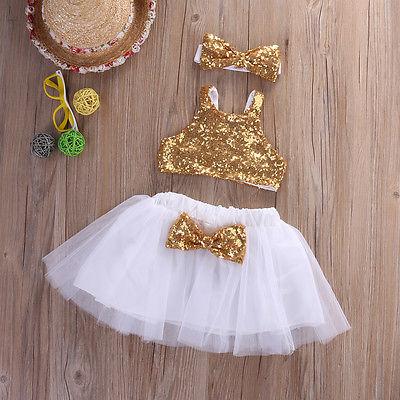 3pcs Toddler Baby Girl Clothes Set Sequins Sleeveless  Tops+Tutu Skirts +Headband Outfits Set Clothes