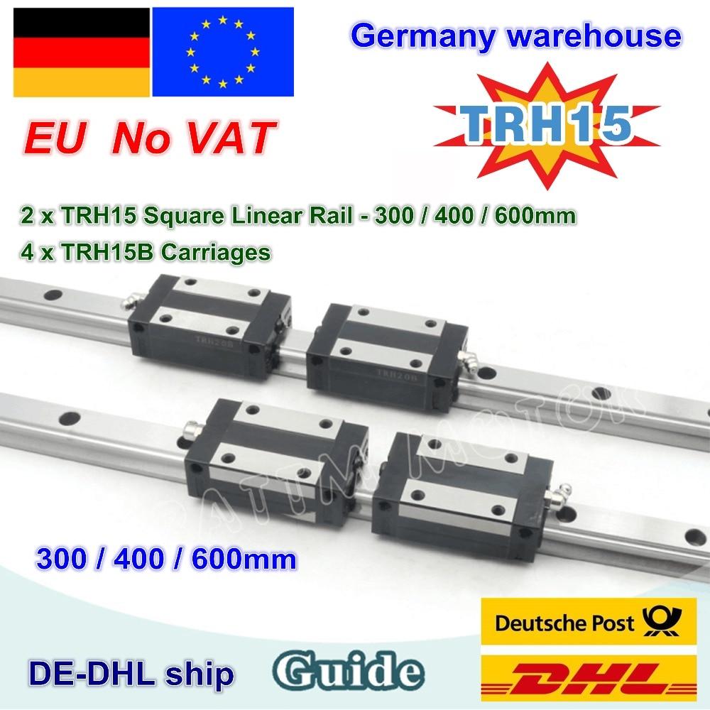 DE free VAT 15mm Square Linear Guide Rail TRH15 300mm 600mm TRH15B carriages Square Slider Block