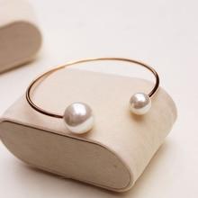 Yunruo chapado en oro rosa pulsera de perlas de doble ajustable cumpleaños mujer regalo de joyería fina al por mayor de acero titanium envío gratis