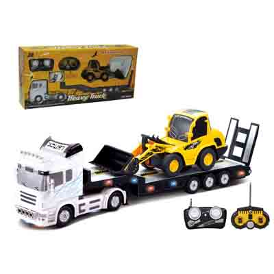 2PCS /Set Big Remote Control Car+RC Excavator Detachable Electric Big Rc Car Trailer Remote Control Wireless Car Toy Lift remote control 1 32 detachable rc trailer truck toy with light and sounds car
