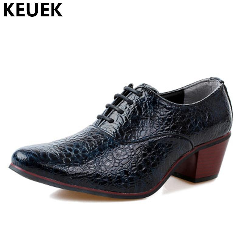 Hommes Talon Sexe Style Cuir Noir Haute Dentelle En up Masculin Robe De Alligator 01b Bout Chaussures bleu blanc Pointu Motif Mariage Busines Britannique rouge rTAqxrw6