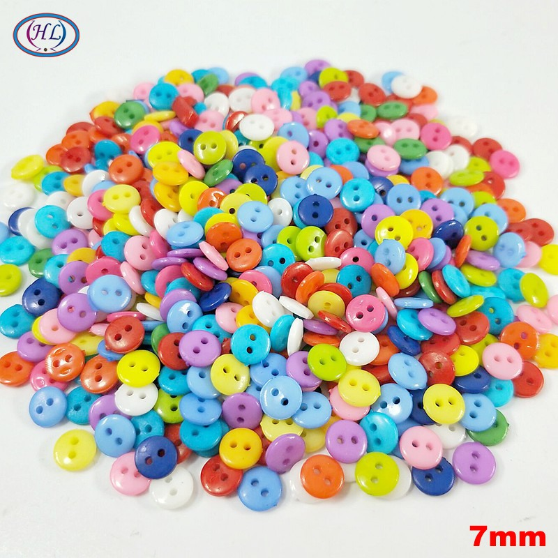 HL 300 600PCS Mix Color 7MM Nylon Buttons 2 Holes DIY Scrapbooking Kid 39 s Garment Dolls Sewing Accessories in Buttons from Home amp Garden
