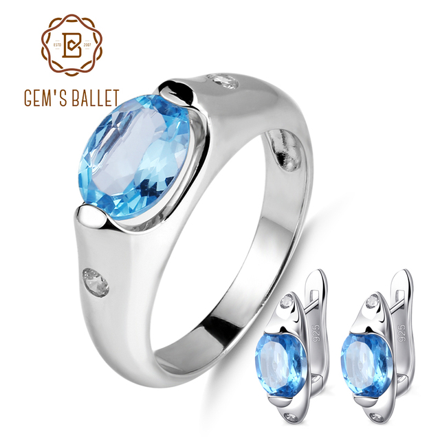 Gem S Ballet 5 52ct Oval Natural Swiss Blue Topaz Jewelry Set 925