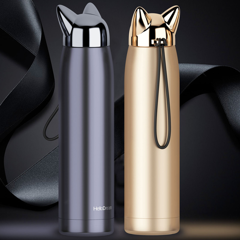Double Wall Thermos Stainless Steel Vacuum Flasks Cups Cute Cat Fox Ear Thermal Coffee Milk Travel Water Bottle Mug Cup 320ml adjustable mandoline slicer professional grater
