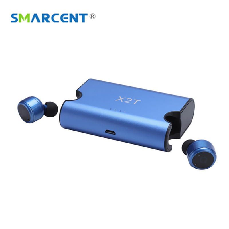 Smarcent Sport business X2T earbuds mini wireless earphone Bluetooth CSR4.2 headphone with power bank for IOS Android PK X3T X1T mini wireless headphone bluetooth earphone earbuds airpods tws headset for hands free calling with power bank for mobile