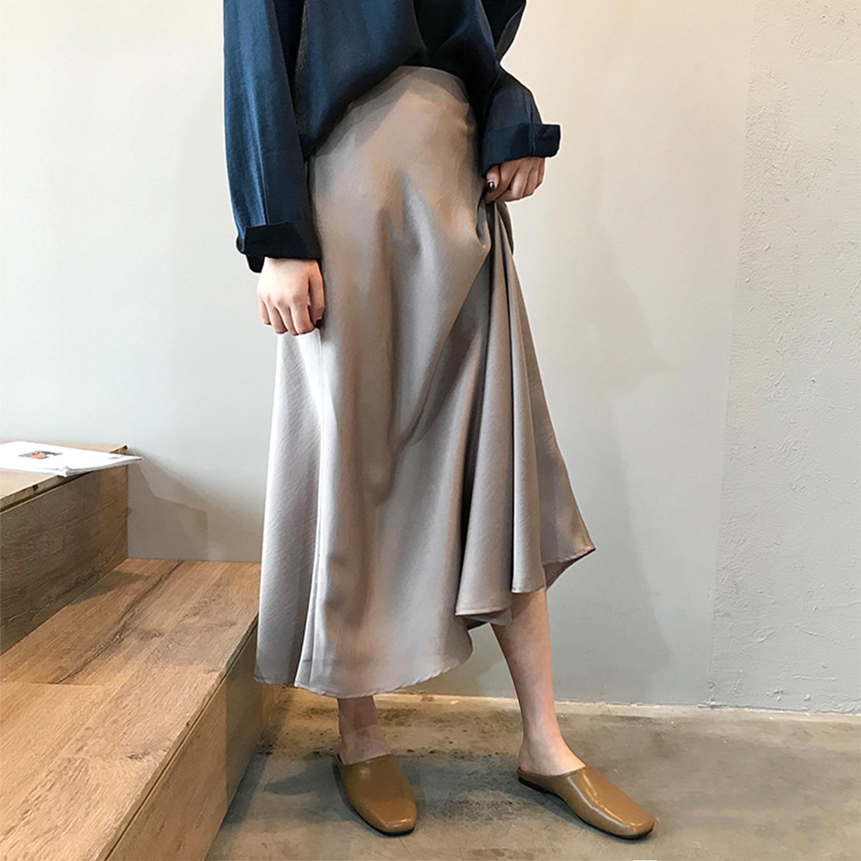19 Spring Simmer Women High Waist Satin Skirt Metallic Color Long Skirt Shiny Silk Imitation Midi Skirt 2