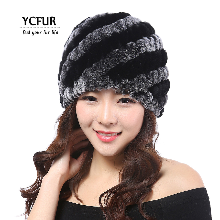 YCFUR Classic Style Women Winter Hats Beanies Warm Knit Natural Rex Rabbit Fur Beanie Winter Warm Real Fur Hat Cap Female