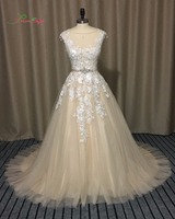 Dream Angel Court Train Vintage Champagne A Line Wedding Dresses 2018 Appliques Beaded Sashes China Robe De Mariee Plus Size