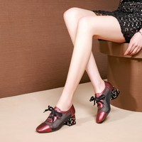 MLJUESE 2019 women pumps autumn spring Cow leather cutouts gun color crystal heel high heels lady shoes party size 34 42