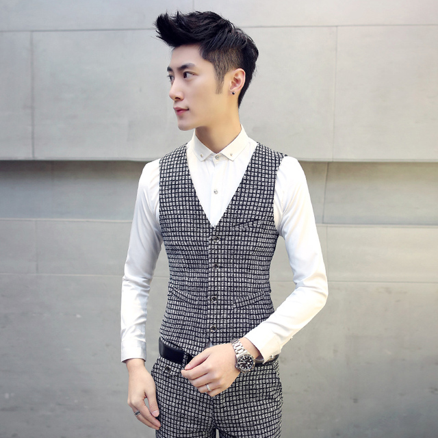 men's vest British gentleman casual plaid belt sanding thick vest pocket stitching Male fashion plaid leisure suit vest