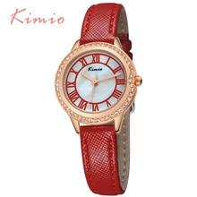 KIMIO Gold Leather-based Band Girls Watches Luxurious Relojes Mujer 2016 Elegant Vogue Quartz-Watch Women Wristwatch Montre Femme 531