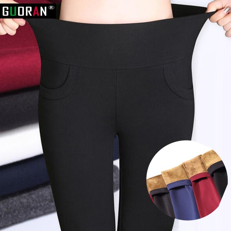 f4505e6d3b57bb 2016 Winter Women Pants Warm Plus Thick Velvet pencil Pants Slim High Waist  Stretch Pants Feet Pants Female fleece Trousers-in Pants & Capris from  Women's ...