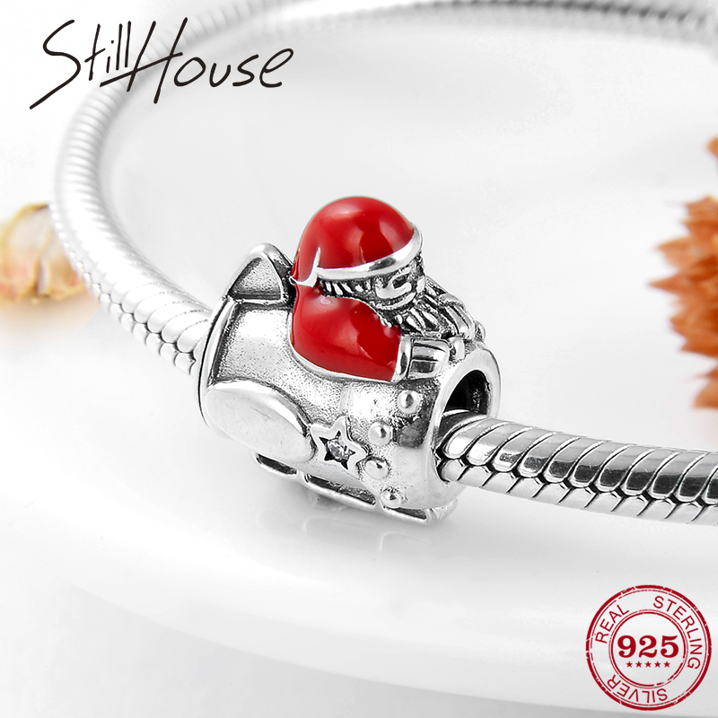 2019 Christmas Gift Riding Sled 925 Sterling Silver Santa Claus Beads Fit Original Pandora Charm Bracelet Jewelry Making