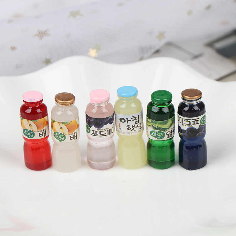 4/5/6 PCS 1:12 Scale Miniature food Water Drinks Wine Juice Bottles Mini Pretend Paly Doll House Kitchen Living Room toys