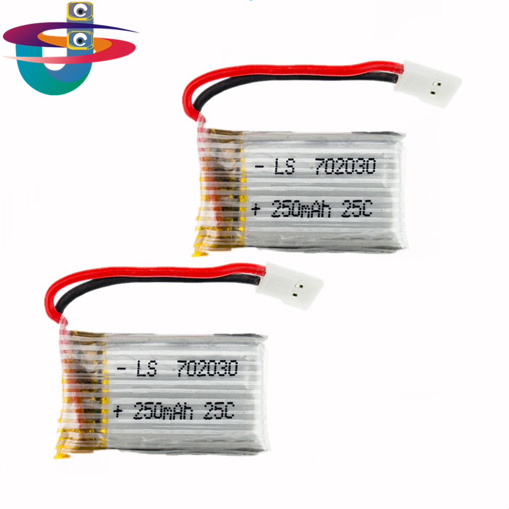 USEE 3.7V 250mAh LiPo Battery 2PCS For Hubsan H107 H107C syma X11C MJX X701 UDI U830 Helicopter RC drone part  eachine e55 kusb 001 usb charger for syma jjrc cheerson hubsan mjx