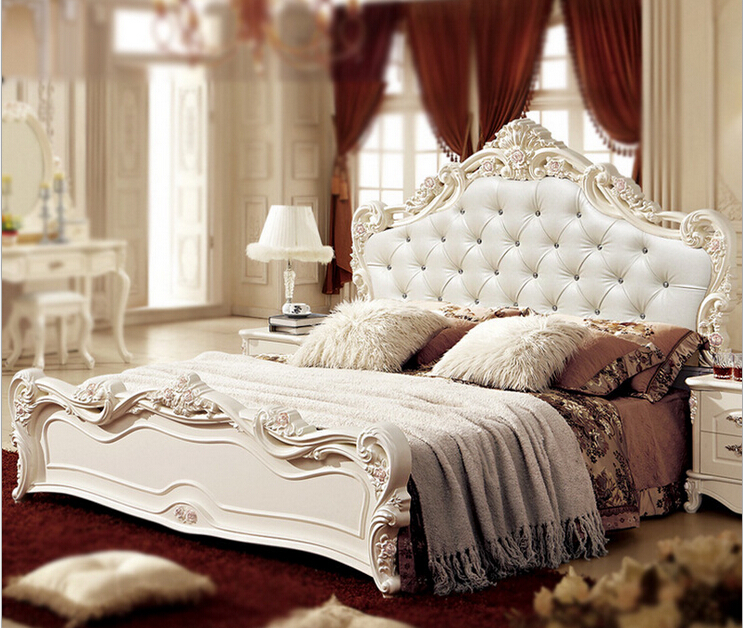 classical white color bedroom set furniture price with large wardrobe