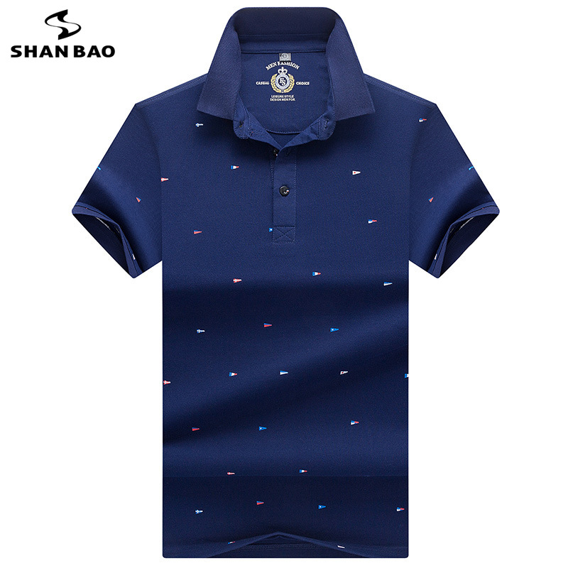 2019 summer new British style high quality cotton men's business casual short-sleeved   Polo   shirt striped stitching lapel   POLO