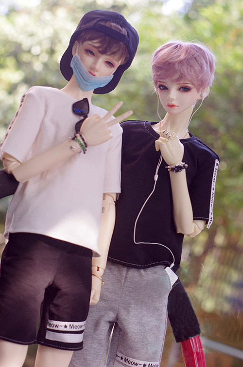 New Fashion Black //white Sports suit 1//3 1//4 Boy BJD SD MSD Doll Clothes