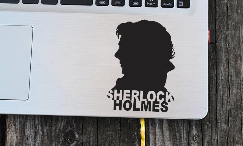 Cool Sherlock Holmes Decals 221B Baker Street UK Sticker Modern Portrait Vinyl Removable Laptop Decor Car Art Mural DIY SYY607