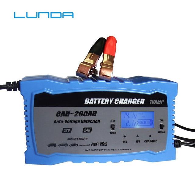Cargador de batería de coche rápido inteligente LCD de 12 V 24 V para baterías de GEL AGM de plomo de motocicleta automática inteligente carga 12 voltios 10 AMP