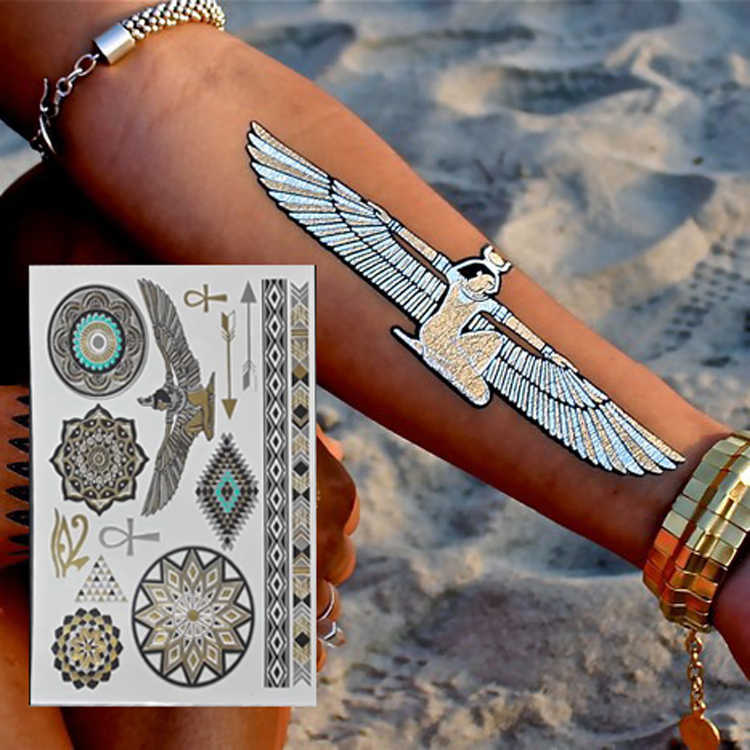 2017 New Hot Egyptian Gold Temporary Tattoo Stickers Disposable Flash Pharaoh Egypt Metal