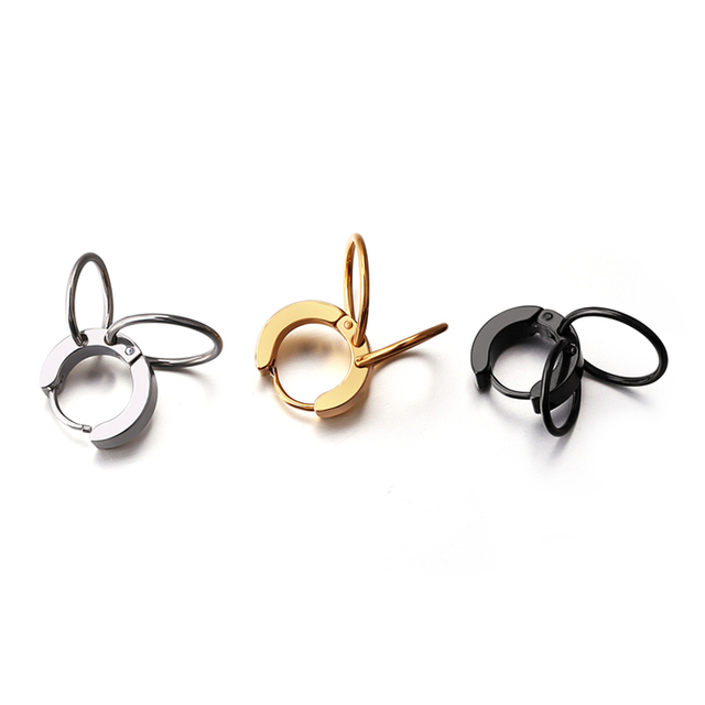 Hoop Earrings Silver Gold Black Double Rounds Cool For Men Women Fashion Body Piercing Jewelry