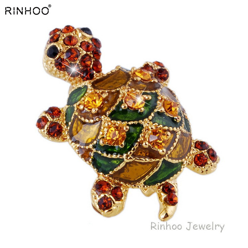 teknős nők aranyos bross fél strasszos színes kis ruha kiegészítők Gyönyörű bross ékszerek állati teknős