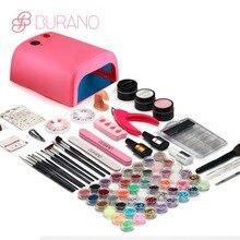 BURANO УФ/светодиодный маникюрный набор с лампой УФ-гель для дизайна ногтей Наборы инструментов кисти Советы Клей акриловый порошок Набор 004