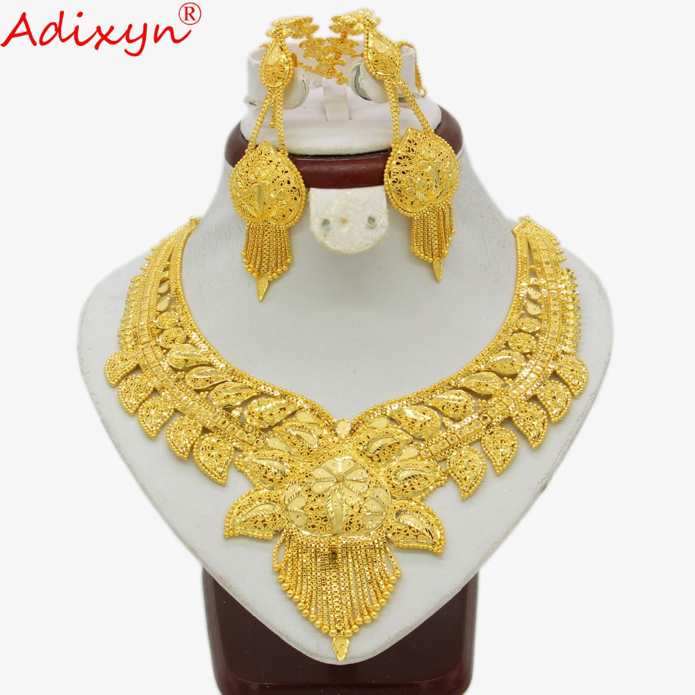 Adixyn Dubai Jewelry Set Gold Color Necklace Earrings Set Arab African Wedding Party MOM Gifts N04194