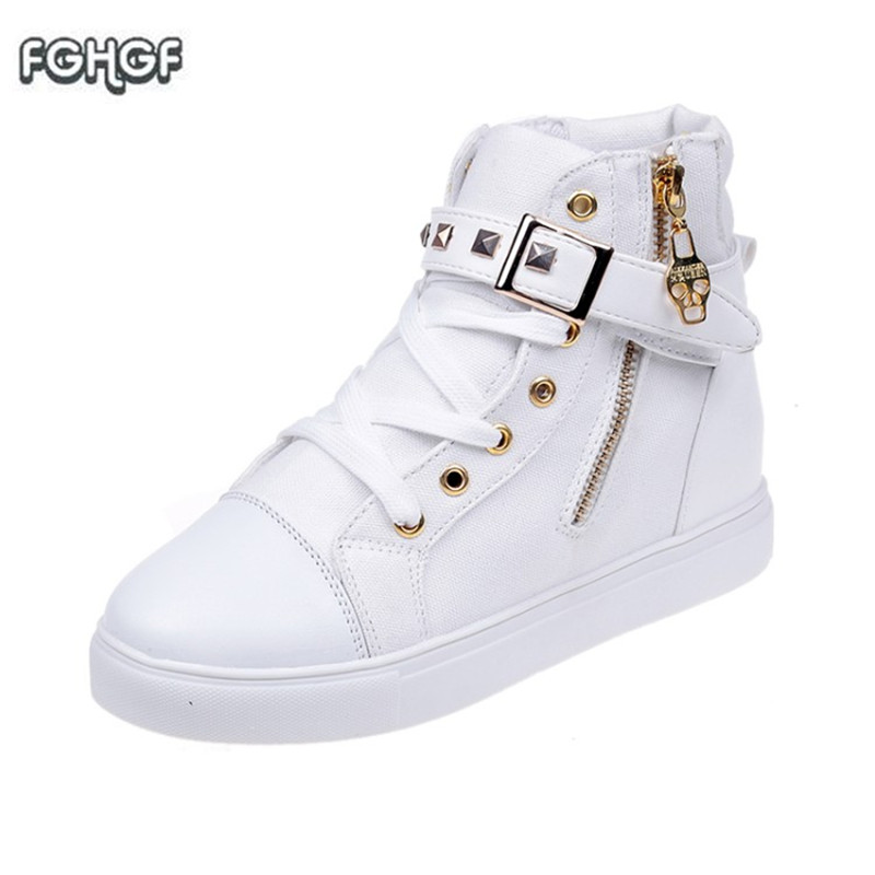 d483b30ba2d8 New Canvas Sneakers Women High Top Sneakers Zip Buckle Women Shoes Woman  Casual Hip Hop Shoes