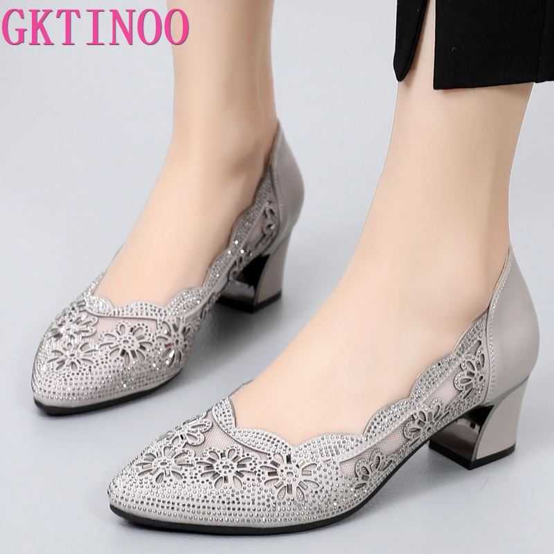 GKTINOO 2020 Summer Fashion Hollow Out Genuine Leather Pumps Women Shoes Med Heels Square Heel Mesh Ladies Office Shoes Crystal