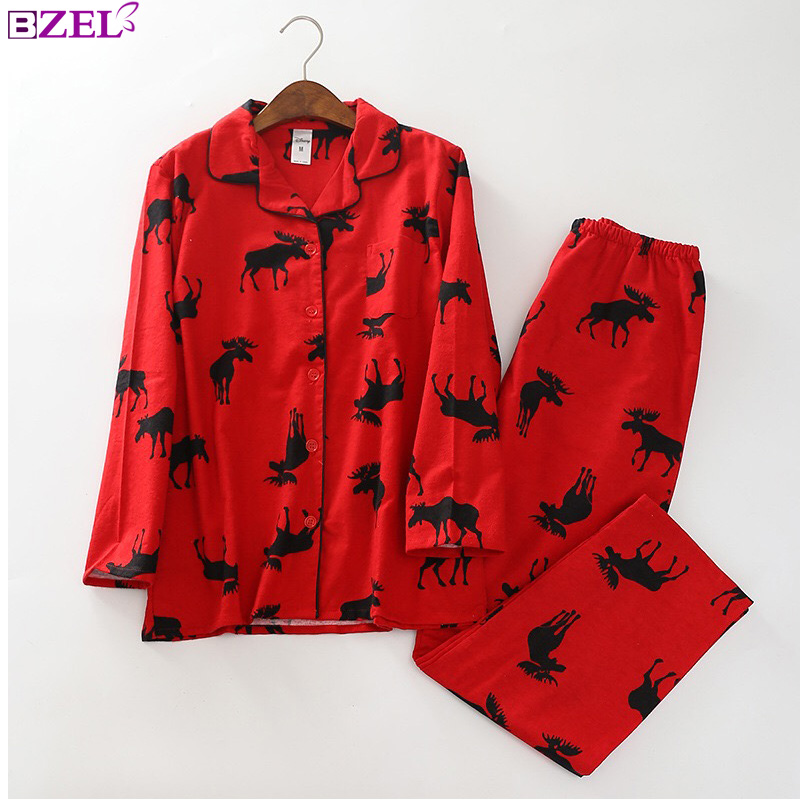 Cute Christmas Red deer 100% brushed cotton women   pajama     sets   fashion sleepwear women homewear sexy pijamas mujer 2019 spring