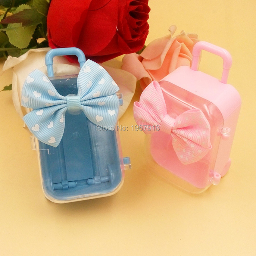 12pcs Trolley Case Design Carriage Candy Box & Bags Travel Theme Wedding Decoration Baby Shower Favors And Gifts