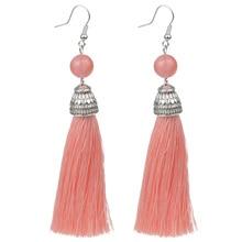 Silk Boho Long Tassel Earrings with Tiger Eye Lava Nature Stone Earrings Bohemian for Women Dangle Earrings Gifts Jewelry
