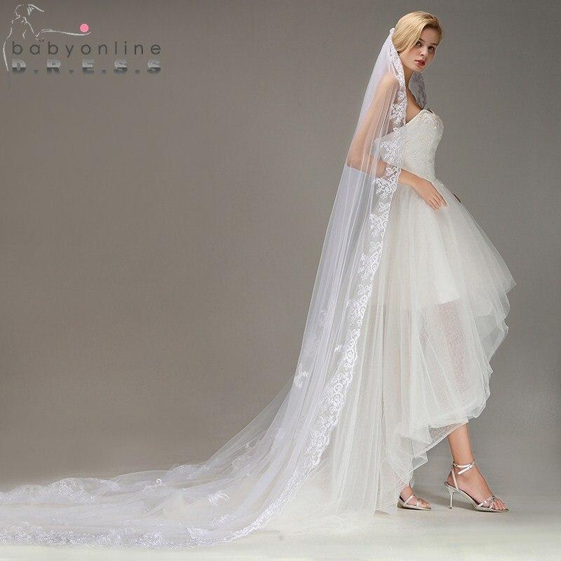 Velos De Novia  Lace Edge Ivory White Long Wedding Veil With Appliques One Layer Tulle Bridal Veil Wedding Accessories