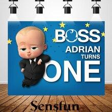 XQ0012 Виниловый фон для фотосъемки новорожденных детей с изображением босса из мультфильма, детские фоны на день рождения для фотостудии 220х150см