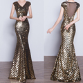 2016 New Women Sleeveless Gold Mermaid Sequined Floor Length Long Dress Party Evening Elegant Summer Casual Dresses  Gown