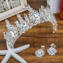 wedding crown queen bridal Tiaras bride crown with earrings headband Wedding Accessories diadem mariage hair jewelry ornaments red crystal wedding crown queen tiara bride crown headband bridal accessories diadem mariage hair jewelry ornaments