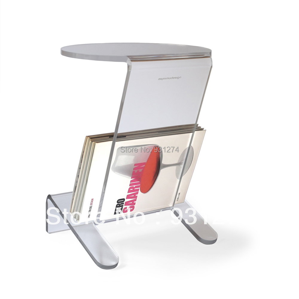 acrylic side table with magazine rack coffee table with storage holder tea table lucite sofa table night stand wholesale hot sale c shaped waterfall acrylic occasional side table