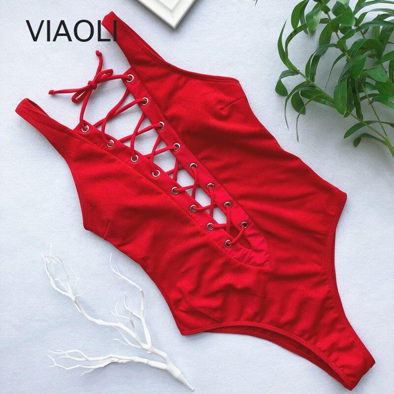 Solid One-Piece Swimsuit Bandage Women Swimwear Push Up Bathing Suit Deep V Red Monokini Bodysuit Maillot De Bain  Swim Suit